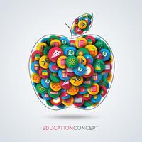 Composição de apple de ícone de educação