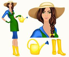 Jovem, mulher, jardim, trabalhador
