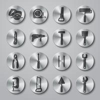 Conjunto de ícones de caixa de ferramentas em botões de metal