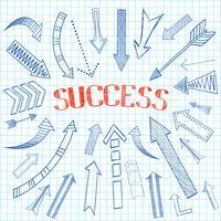 Esboço de ícone de setas de sucesso vetor