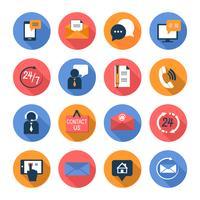 Conjunto de ícones plana de contatos de atendimento ao cliente