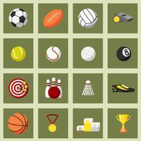 Conjunto de ícones plana de esportes
