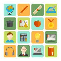 Conjunto de ícones plana de aprendizagem