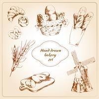 Conjunto de ícones de mão desenhada de padaria