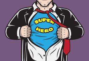 Empresário disfarçado de super-herói em quadrinhos vetor