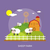 Ilustração conceitual de fazenda de ovelhas