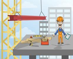 Trabalhador da construção civil na plataforma vetor