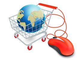 Conceito de carrinho de compras na Internet vetor