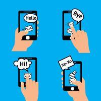 Mensagem do smartphone da mão vetor