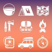 Coleção de pictogramas de acampamento ao ar livre