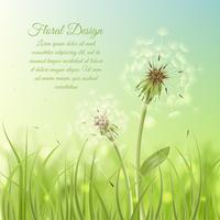 Cartaz de design floral de dente de leão vetor
