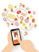 Mãos, com, smartphone, conceito vetor