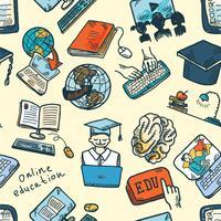 Padrão sem emenda de educação on-line vetor