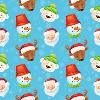 Padrão sem emenda de personagens de Natal vetor