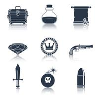 Ícones de recursos do jogo pretos vetor