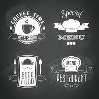 Conjunto de emblemas de menu de restaurante vetor