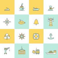 Conjunto de linha plana de ícones do porto marítimo vetor