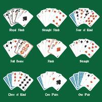 Mãos de pôquer vetor