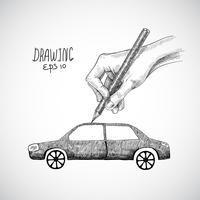Carro de desenho de mão vetor
