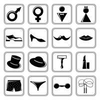 Ícones de gênero definidos em preto vetor