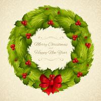Cartão postal de guirlanda de Natal vetor