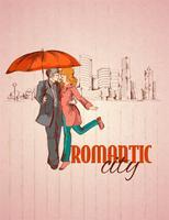 Cartaz da cidade romântica vetor