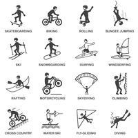 Conjunto de ícones de esportes radicais vetor