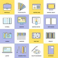 ícones de linha plana de design vetor