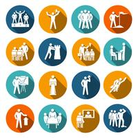 Ícones de liderança planas