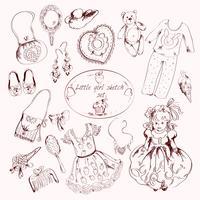 Conjunto de acessórios de menina doodle esboço vetor