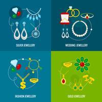 Conjunto plano de ícone de jóias vetor
