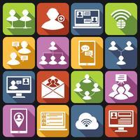 Conjunto de ícones de comunicação branco