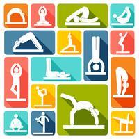 Yoga exercícios ícones planas
