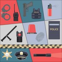 Conjunto de ícones de polícia vetor