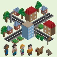 Cidade de pixel isométrica vetor