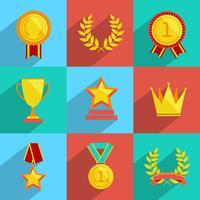 Prêmio ícones conjunto colorido vetor