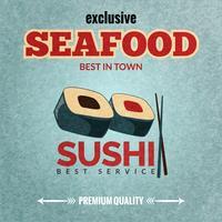Poster retro de frutos do mar