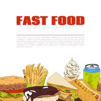 Bandeira de fronteira sem costura infográfico de fast-food