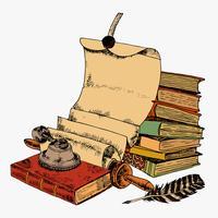 Pena de papel de rolo e livros
