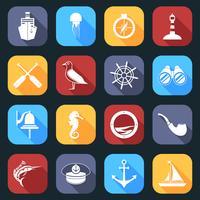 Conjunto de ícones náuticos plano