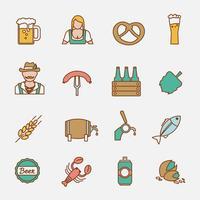 Conjunto de ícones de cerveja linha plana