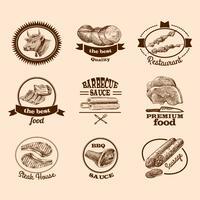 Rótulos de carne de esboço vetor