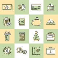 Linha plana de ícones de finanças de dinheiro
