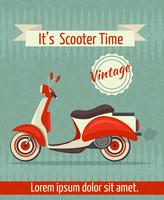 Poster retro de scooter vetor