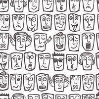 Esboço emoticons padrão sem emenda vetor