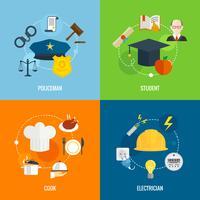 Composições de profissão plana vetor