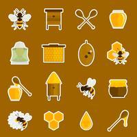 Conjunto de adesivos de ícones de mel de abelha vetor
