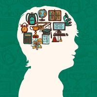 Silhueta de menino com ícones de educação