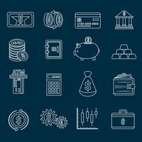 Contorno de ícones de finanças de dinheiro