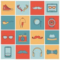 Conjunto de ícones de hipster linha plana